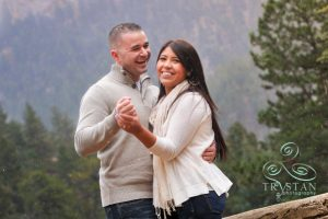 Christina and Mike's Snowy Engagement Session at Helen Hunt Falls