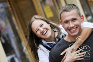 Katie and Chris' Snowy Engagement Session in Downtown Denver
