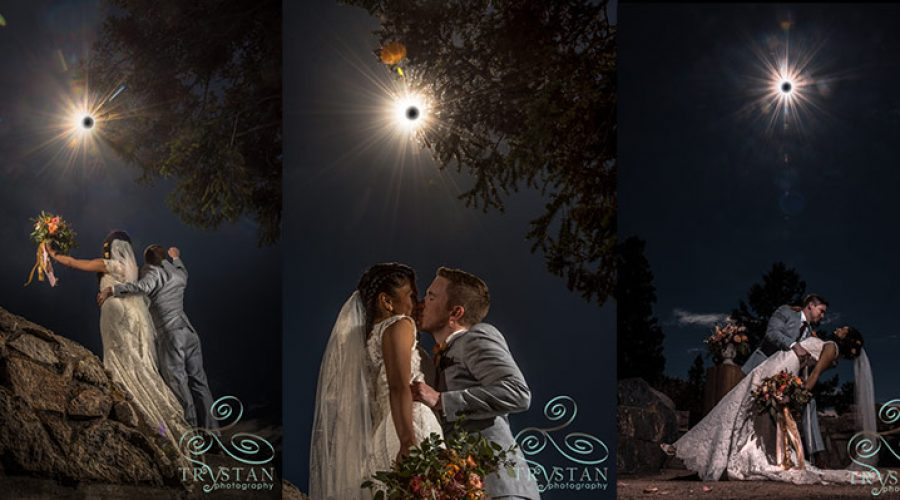 Once in a lifetime wedding photos during the 2017 eclipse at Lake Dillon, CO