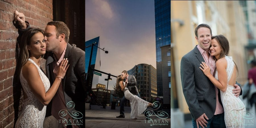 Stephanie & Nick's fun downtown Denver engagement session